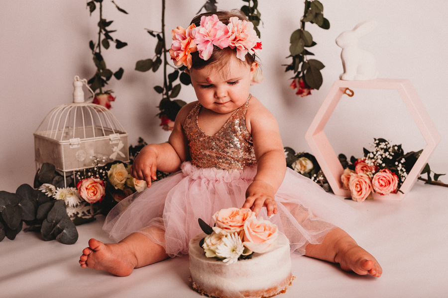 cake smash cape town floral girl